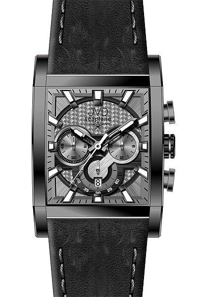 Hranaté luxusní moderní černé hodinky JVD seaplane W54.1 - chronografy
