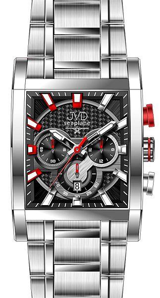 Hranaté luxusní moderní černé hodinky JVD seaplane W54.2 - chronografy