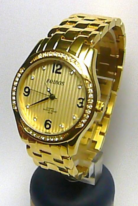 Dámské šperkové luxusní zlacené hodinky Foibos 21501 osazené bílými kamínky