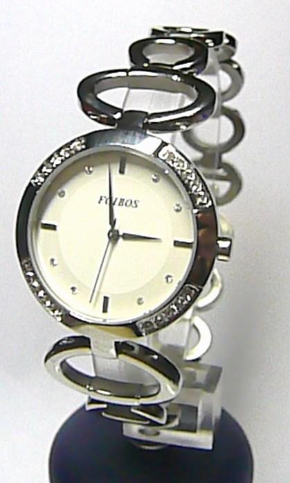 Luxusní stříbrné ocelové dámské hodinky Foibos 21786 se zirkony 3ATM