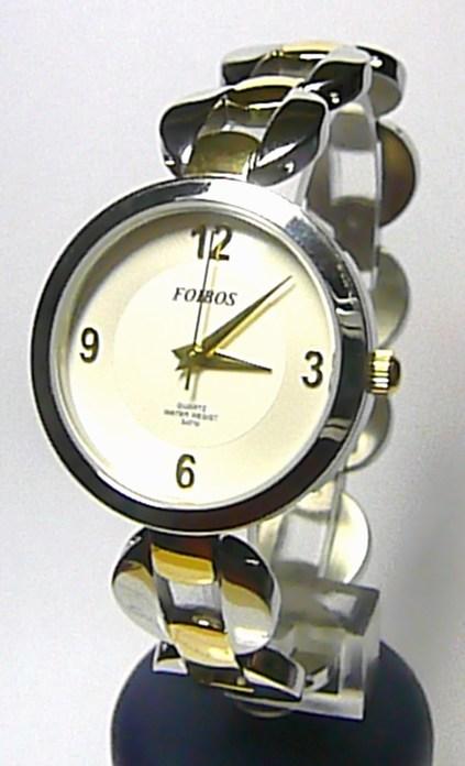 Luxusní stříbrné zlaté ocelové dámské hodinky Foibos 21752 se zirkony 3ATM
