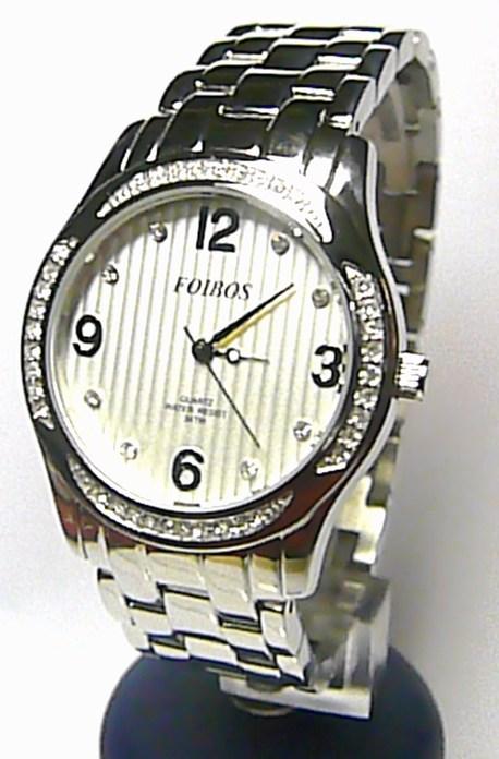 Dámské šperkové luxusní stříbrné hodinky Foibos 2150 osazené bílými zirkony 3ATM
