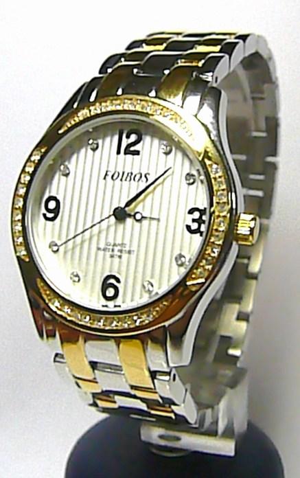 Dámské šperkové luxusní hodinky Foibos 21502 osazené bílými zirkony BICOLOR