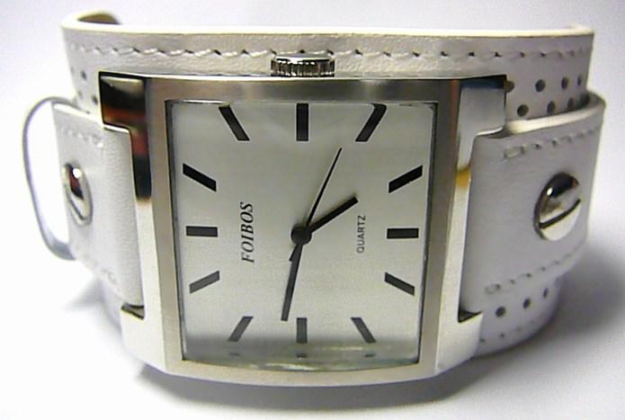 Mohutné velké hranaté bílé dámské hodinky Foibos 1878 s bílým páskem