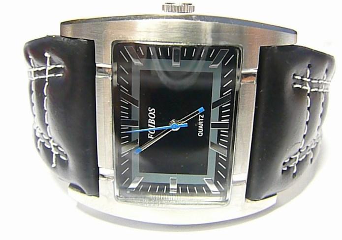 Mohutné moderní obrovské hranaté dámské hodinky Foibos 1881 s černým páskem