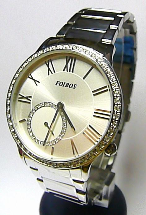 Luxusní střbrné dámské voděodolné hodinky poseté zirkony Foibos 1k931 5ATM
