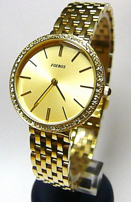 Zlaté elegantní dámské hodinky Foibos 1U151 posté zirkony po lunetě 3ATM
