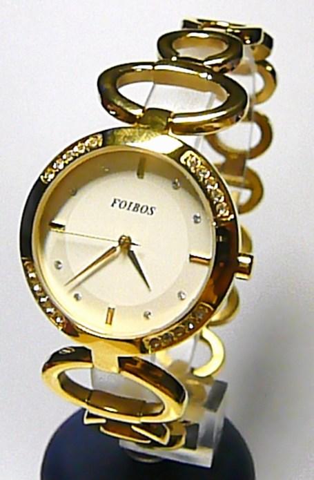 Luxusní zlacené ocelové dámské hodinky Foibos 217861 se zirkony 3ATM