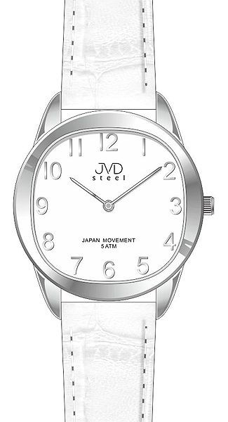 Dámské elegantní stříbrno - bílé náramkové hodinky JVD steel J4115.1