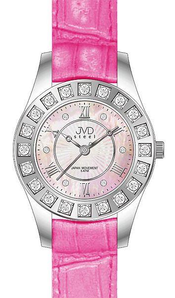 Dámské elegantní růžové hodinky JVD steel J4111.2
