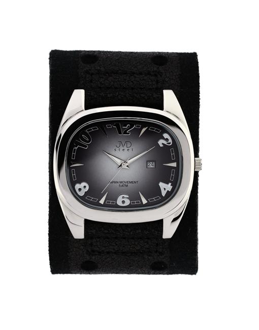 Dámské elegantní hranaté černé hodinky JVD steel J1071.1