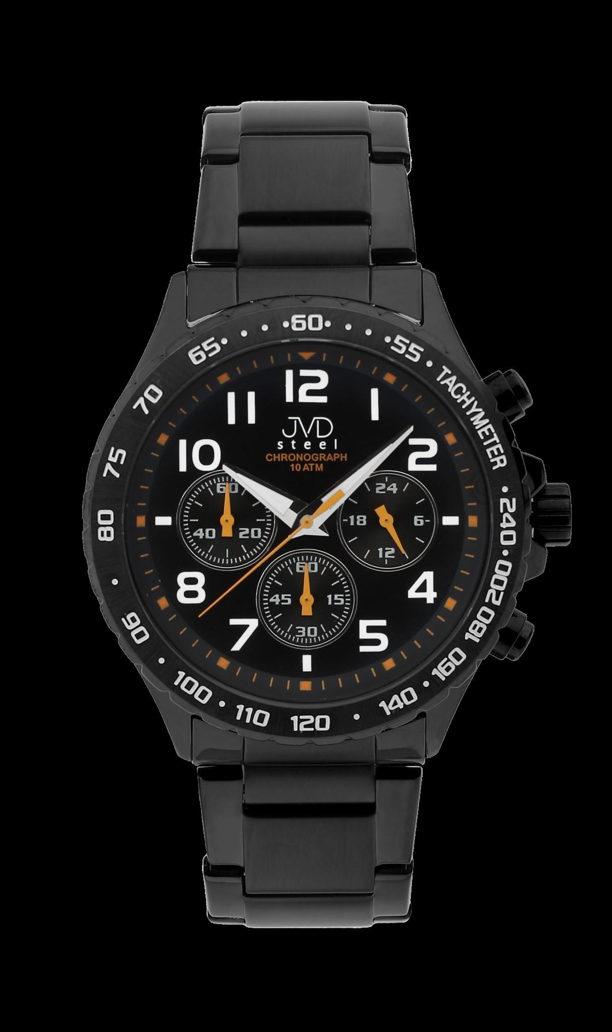 Luxusní vodotěsné černé hodinky JVD steel J1079.1 chronografy 10ATM