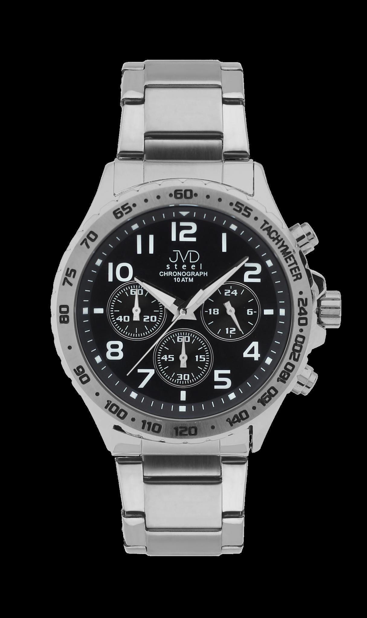 Luxusní vodotěsné černé hodinky JVD steel J1079.2 chronografy 10ATM  (POŠTOVNÉ ZDARMA! 7e447e34055
