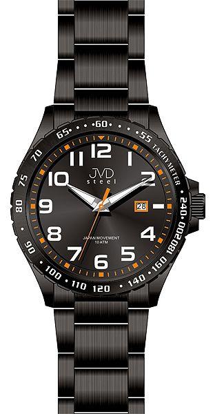 Černé luxusní vodotěsné pánské ocelové hodinky JVD steel J1078.1 - 10ATM