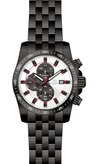 Černé luxusní vodotěsné ocelové hodinky JVD steel J1069.3 - 10ATM chronograf 8db28eb91a7