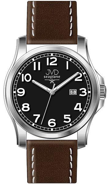 Pánské nerezové hodinky JVD seaplane W68.2 na koženém pásku 5ATM