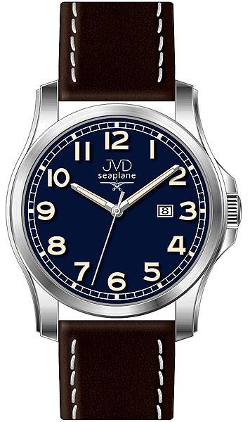 Pánské nerezové hodinky JVD seaplane W68.3 na koženém pásku 5ATM