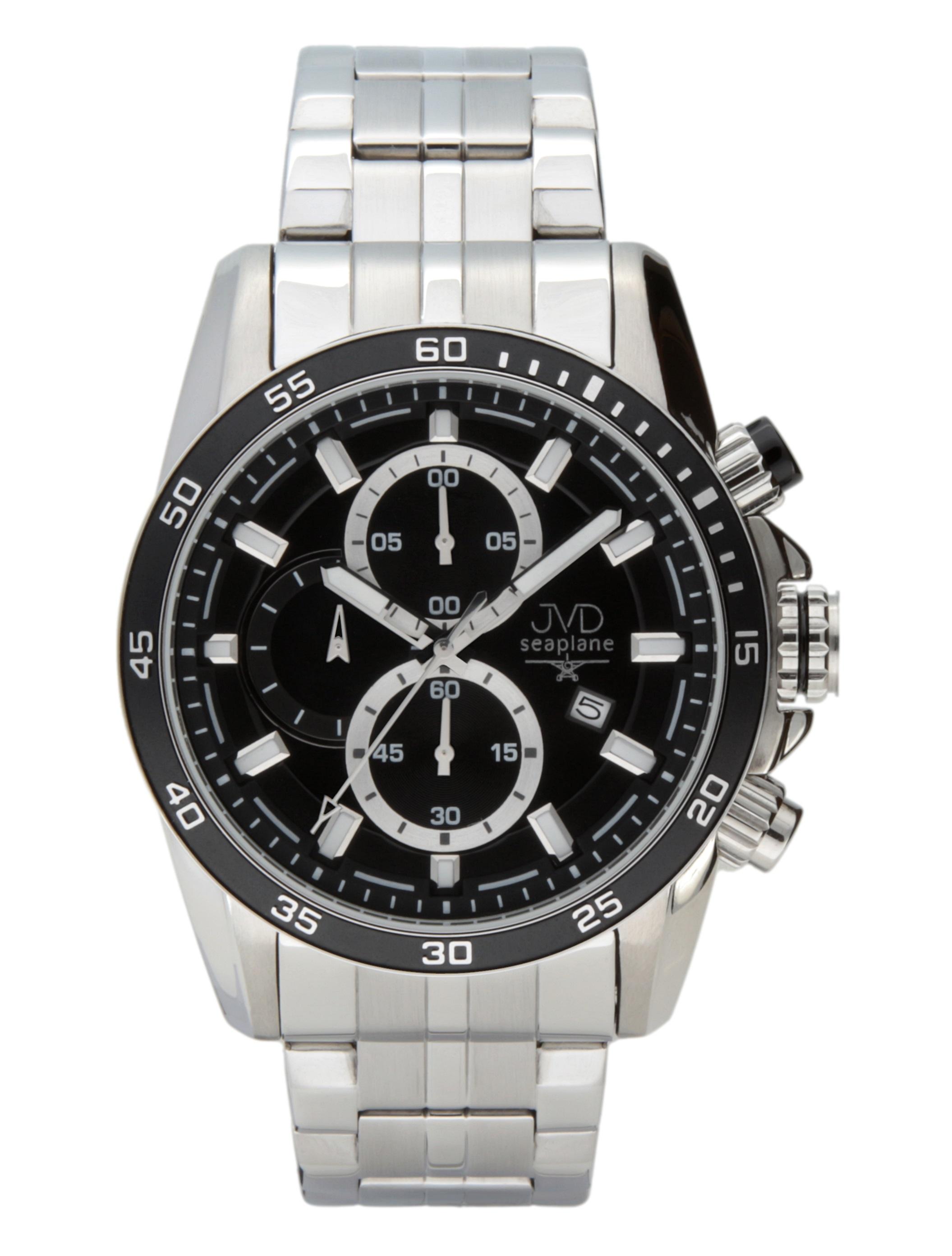 Luxusní pánský ocelový chronograf hodinky JVD seaplane W70.1 10ATM vodotěsné
