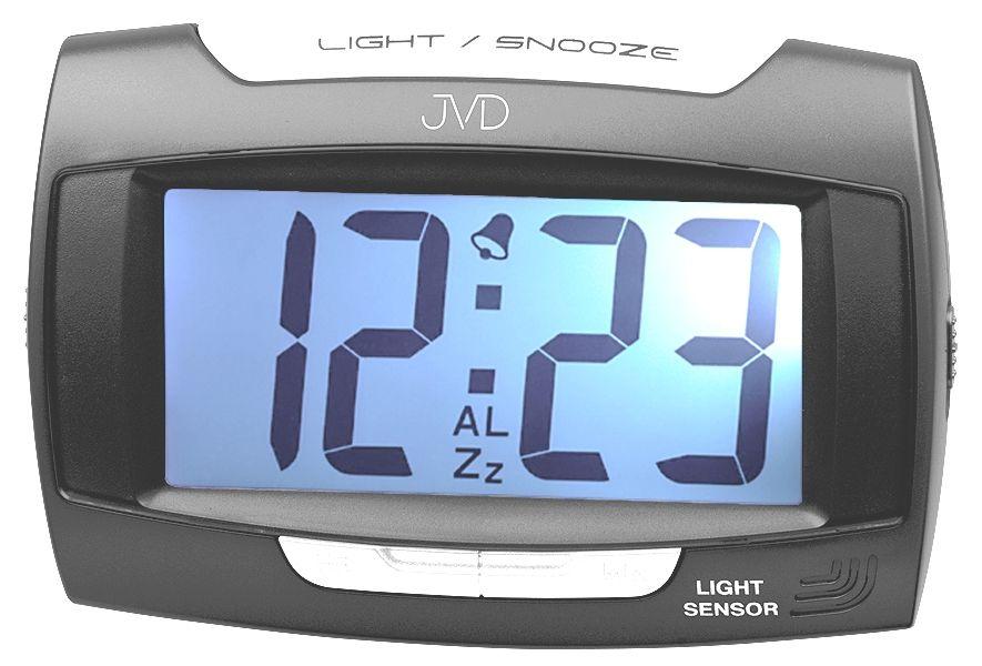Moderní černý digitální budík JVD SB91.9 (možnost připojit i do el. sítě)
