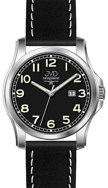 Pánské nerezové hodinky JVD seaplane W68.1 na koženém pásku 5ATM