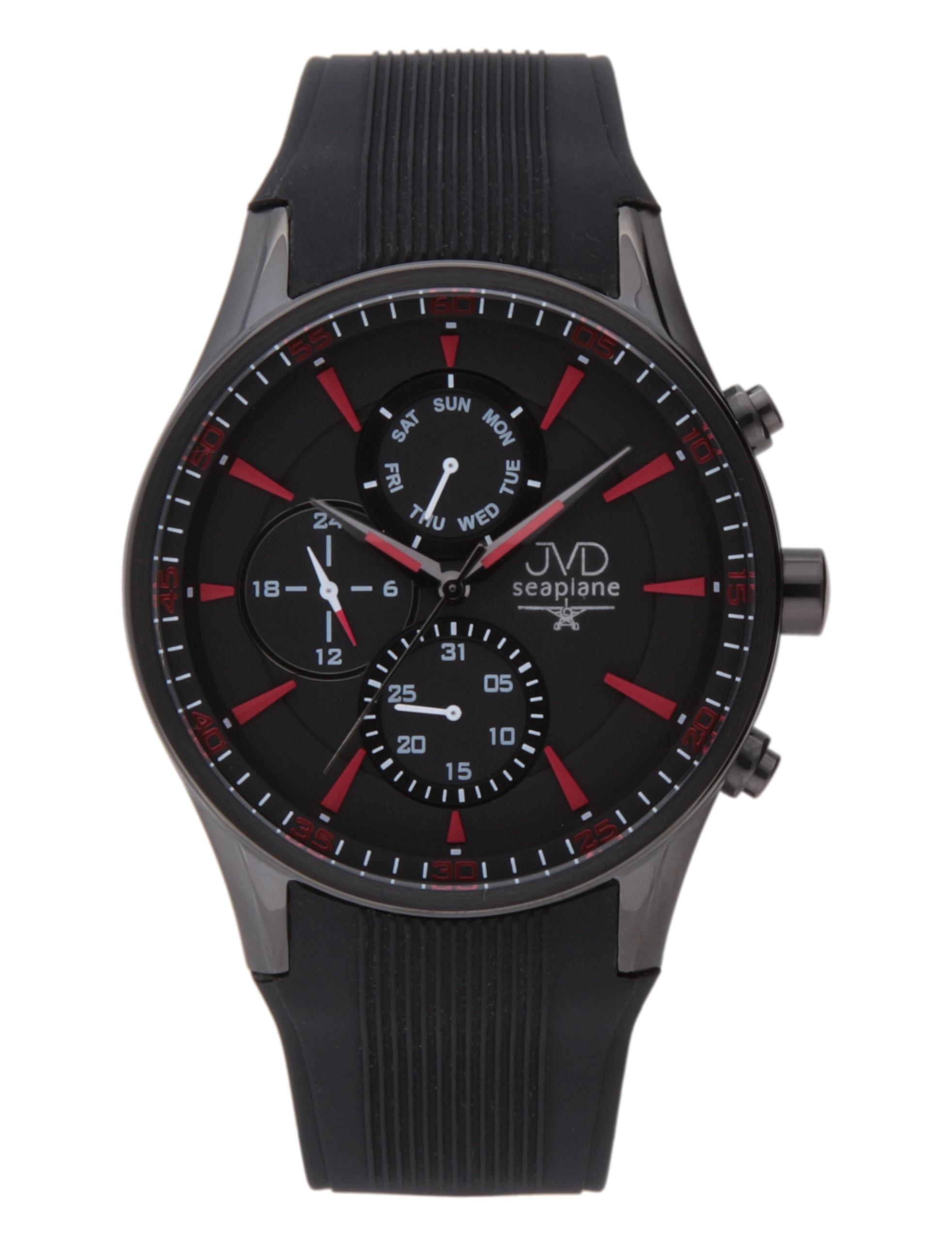 Luxusní černé vodotěsné hodinky JVD seaplane W72.1 - chronograf 10ATM