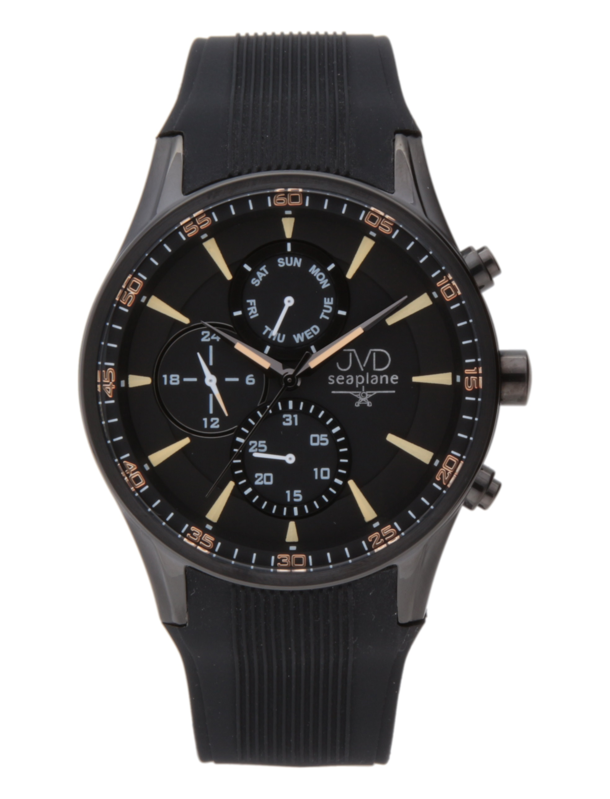 Luxusní černé vodotěsné hodinky JVD seaplane W72.2 - chronograf 10ATM