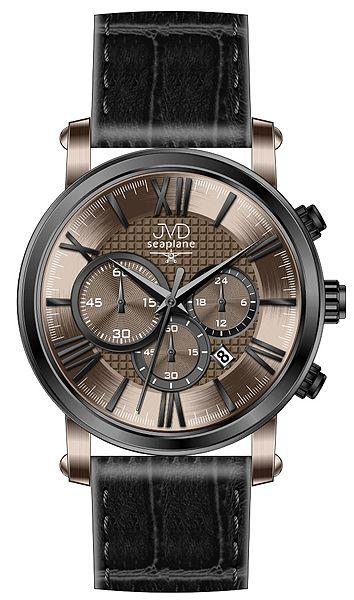 Pánský luxusní chronograf - hodinky JVD seaplane W73.2 na kůži se stopkami 5ATM