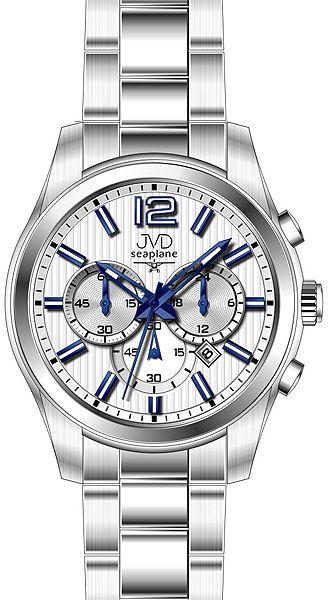 Pánské luxusní ocelové hodinky JVD seaplane W74.1 - chrnografy 10ATM
