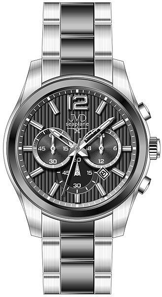 Pánské luxusní ocelové hodinky JVD seaplane W74.2 - chrnografy 10ATM