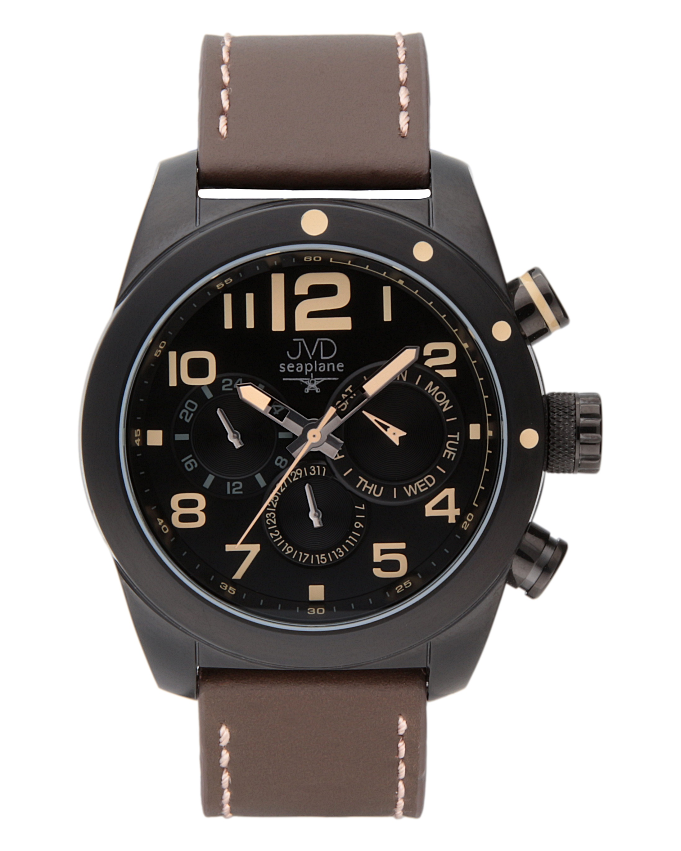 Pánské luxusní ocelové hodinky JVD seaplane W75.1 - chrnografy 10ATM