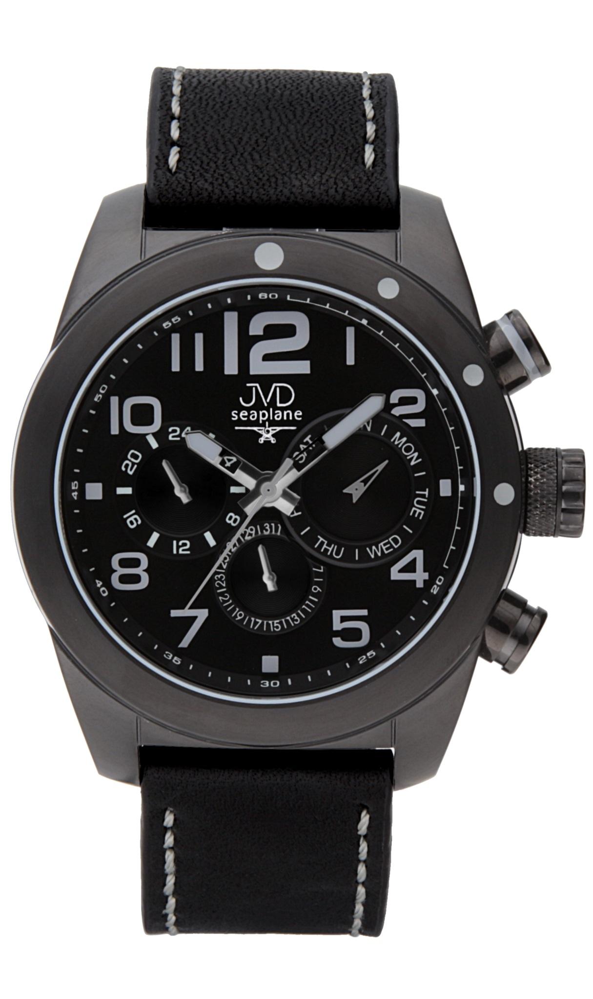 Pánské luxusní ocelové hodinky JVD seaplane W75.2 - chrnografy 10ATM