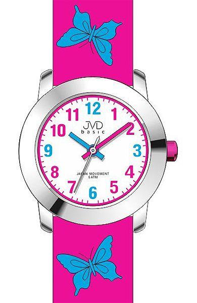 Dívčí dětské růžové barevné hodinky JVD basic J7142.5 s motivem motýlka