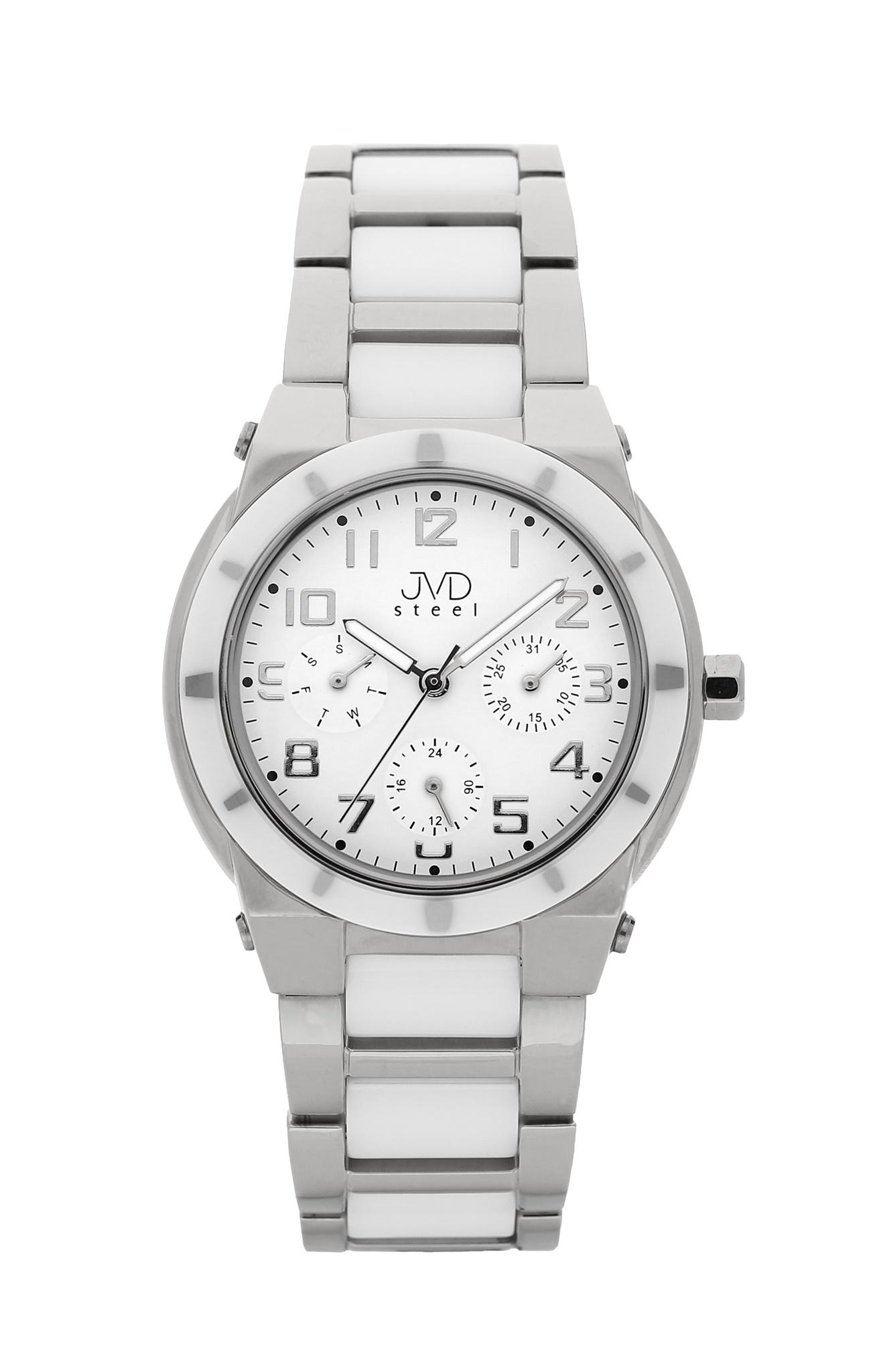 Dámský chronograf - keramické hodinky JVD steel J4131.1 s keramickou lunetou (POŠTOVNÉ ZDARMA!!)
