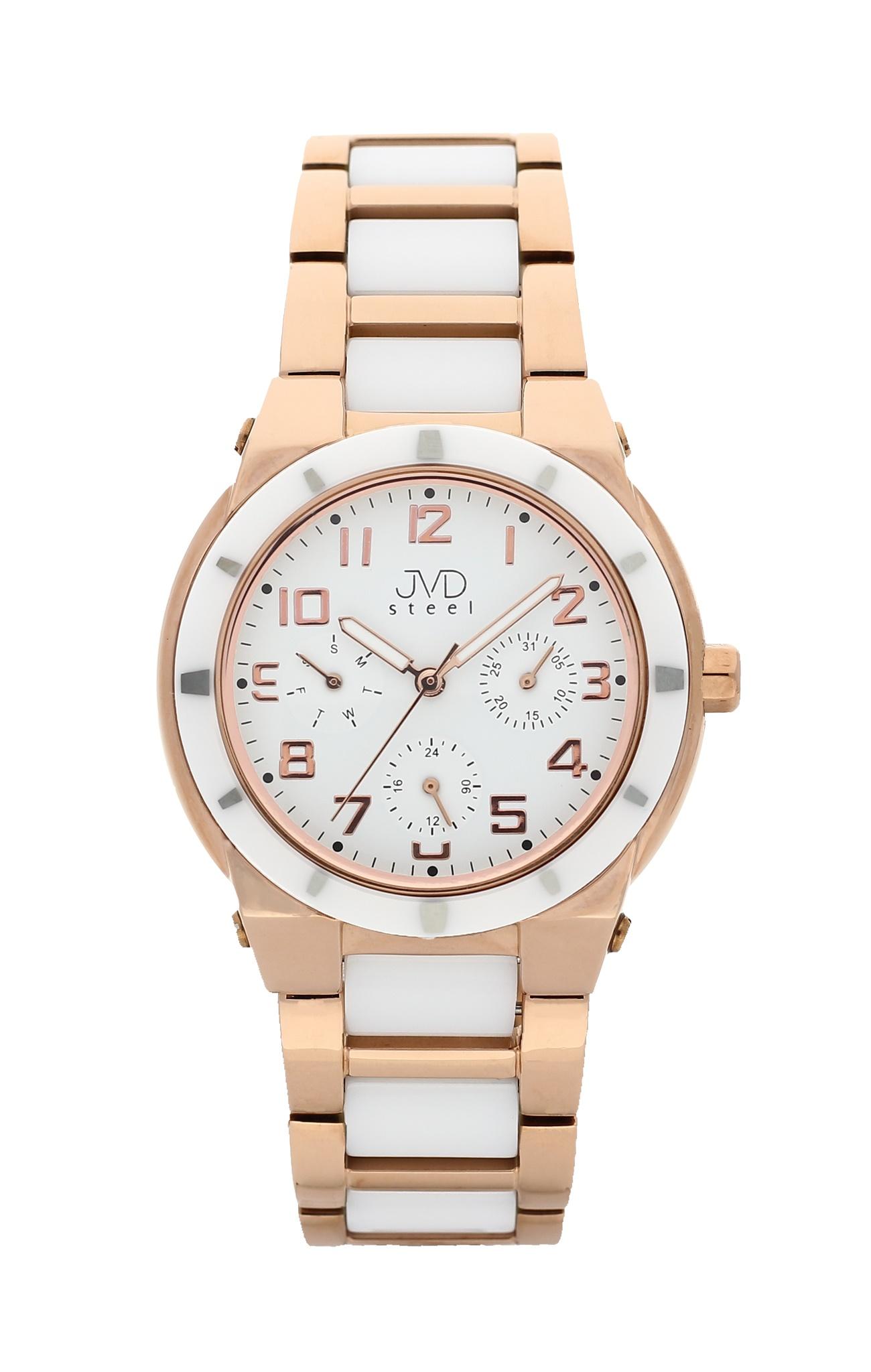 Dámský chronograf - keramické hodinky JVD steel J4131.2 s keramickou lunetou (POŠTOVNÉ ZDARMA!!)