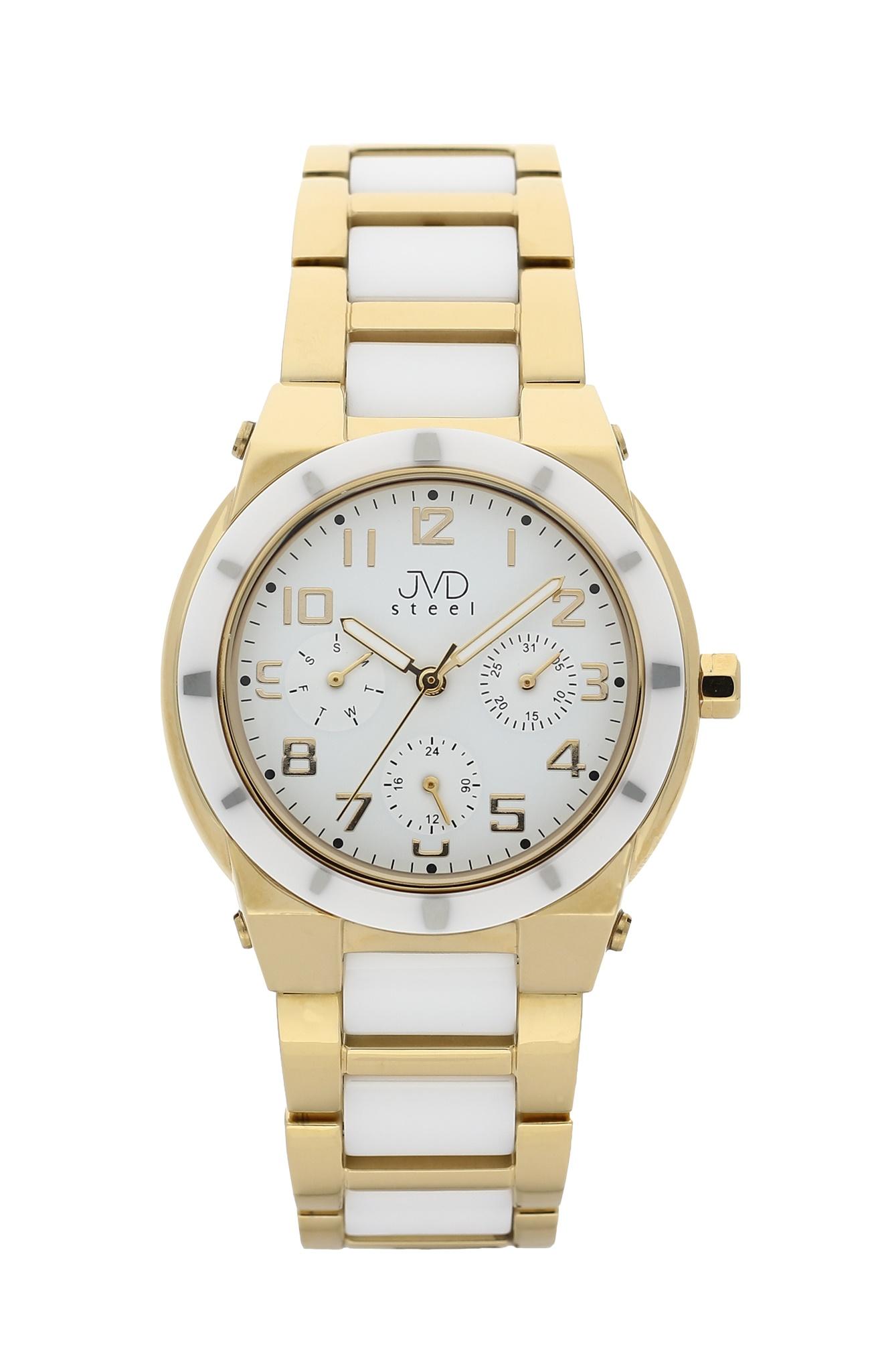 Dámský chronograf - keramické hodinky JVD steel J4131.3 s keramickou lunetou (POŠTOVNÉ ZDARMA!!)