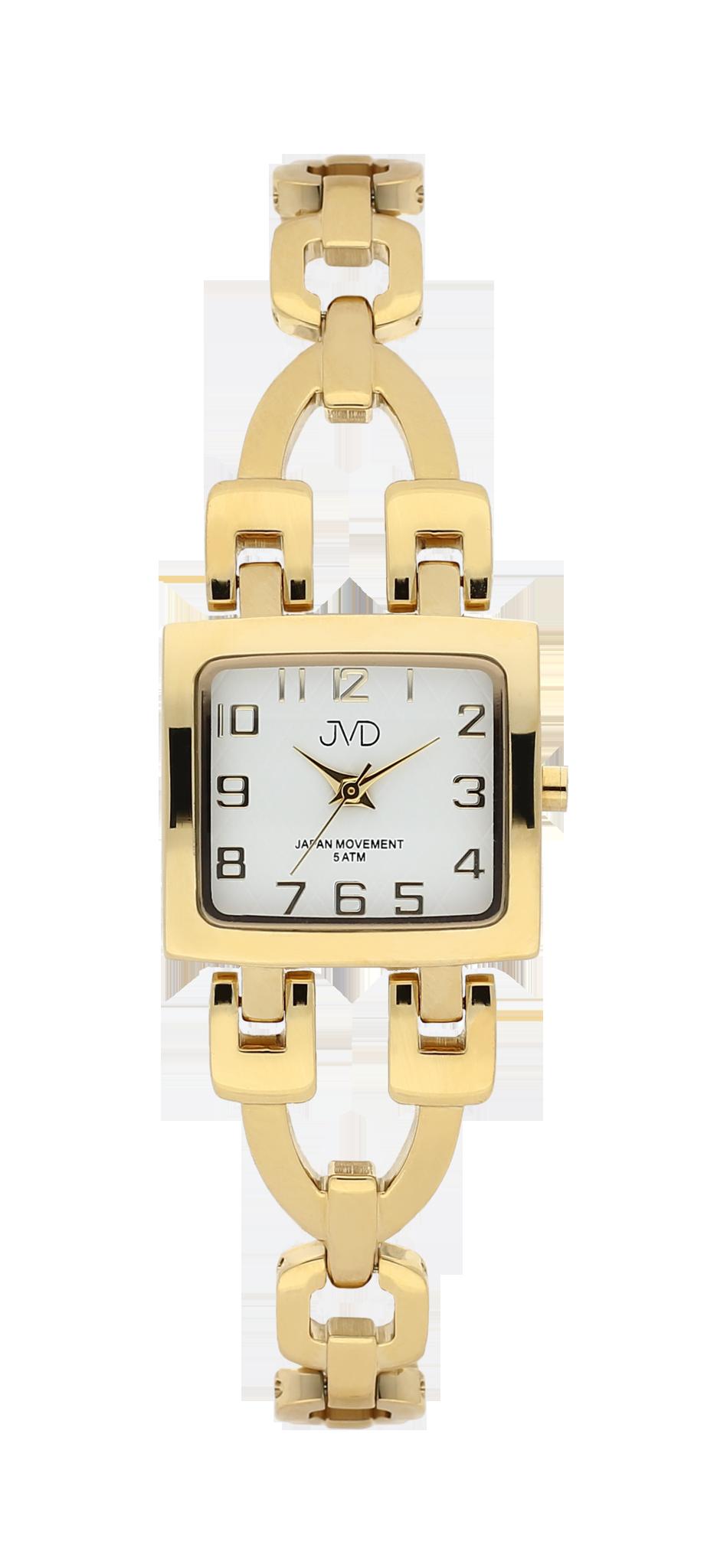 Zlacené elegantní hranaté dámské hodinky JVD steel J4127.3 - 5ATM