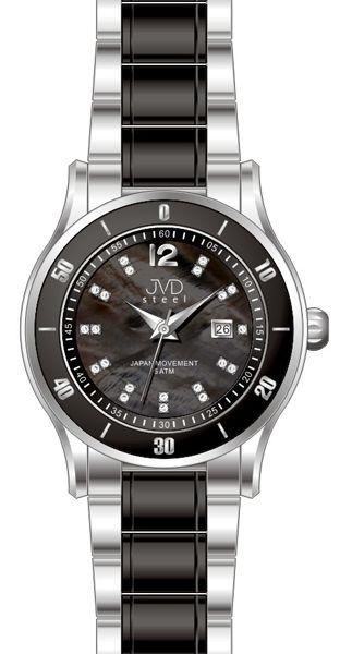 Dámské keramické černé hodinky JVD steel J4125.3 s perleťovým číselníkem
