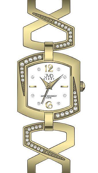 Luxusní dámské zlaté desginové hodinky JVD steel J4109.3