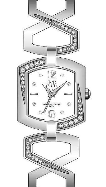 Luxusní dámské stříbrné desginové hodinky JVD steel J4109.1