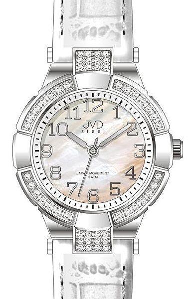 Dámské luxusní hodinky JVD steel J4064.1 s perleťovým číselníkem bílé