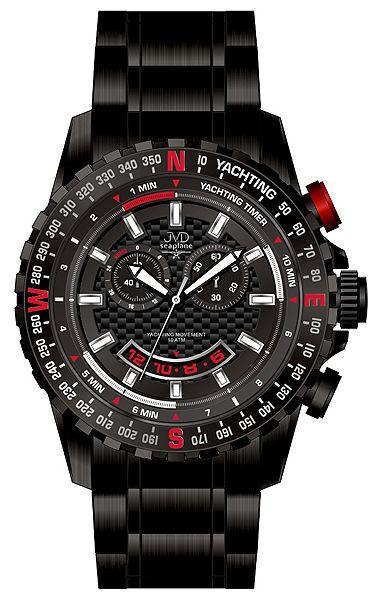 Černé vysoce odolné vodotěsné chronografy hodinky JVD seaplane J1096.3 10ATM