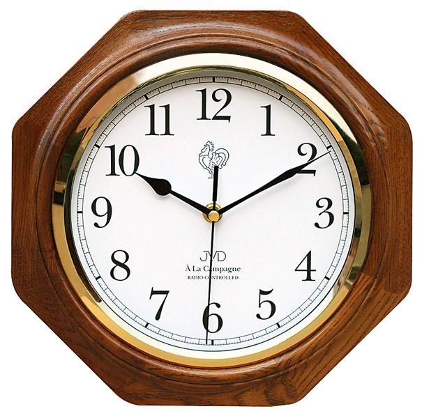 Dřevěné rádiem řízené nástěnné hodiny JVD NR7172.1 ve francouzském vzhledu (POŠTOVNÉ ZDARMA!!)