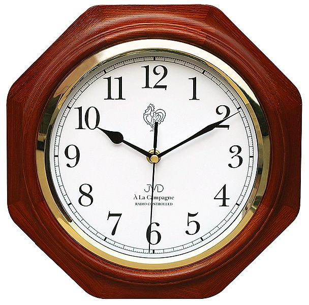 Dřevěné rádiem řízené nástěnné hodiny JVD NR7172.3 ve francouzském stylu (POŠTOVNÉ ZDARMA!!)