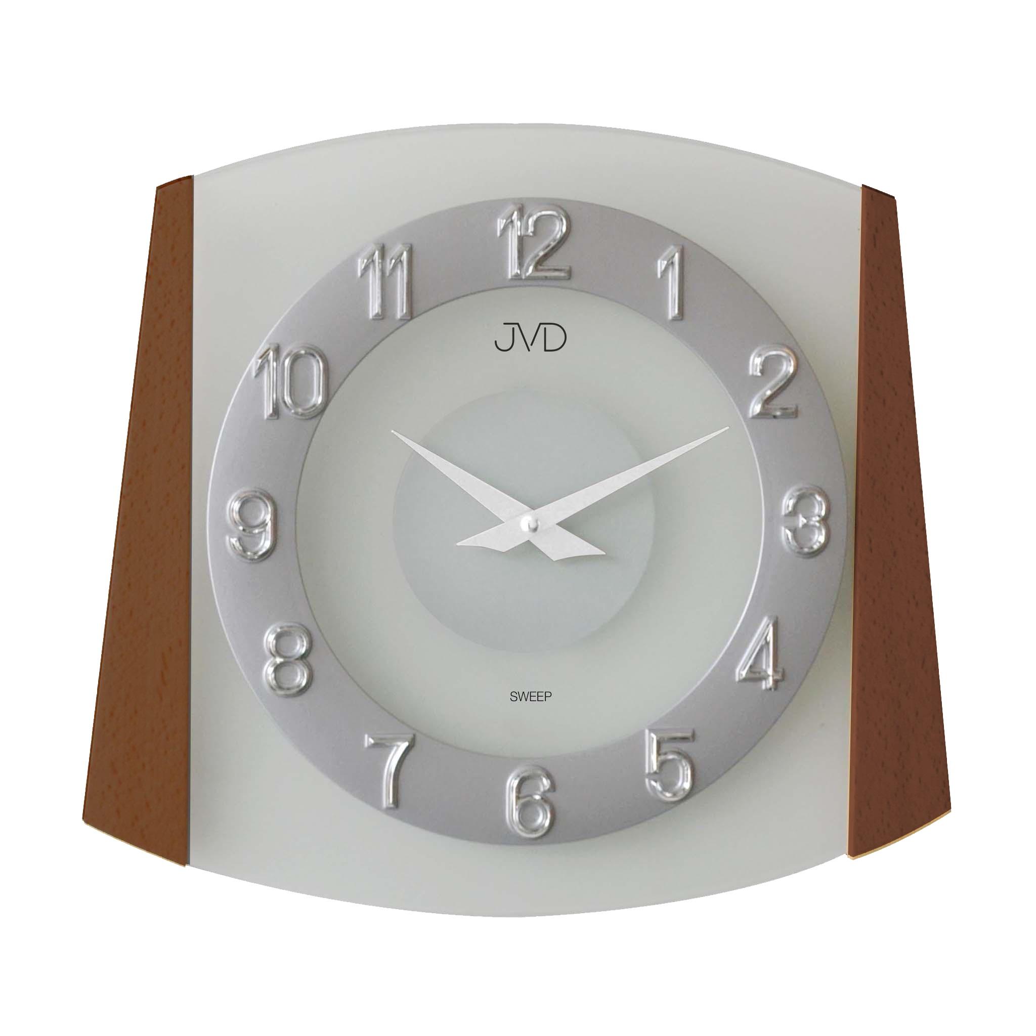Dřevěné skleněné netikajcí hodiny JVD sweep NS14029/11 (netikající dřevěné hodiny)