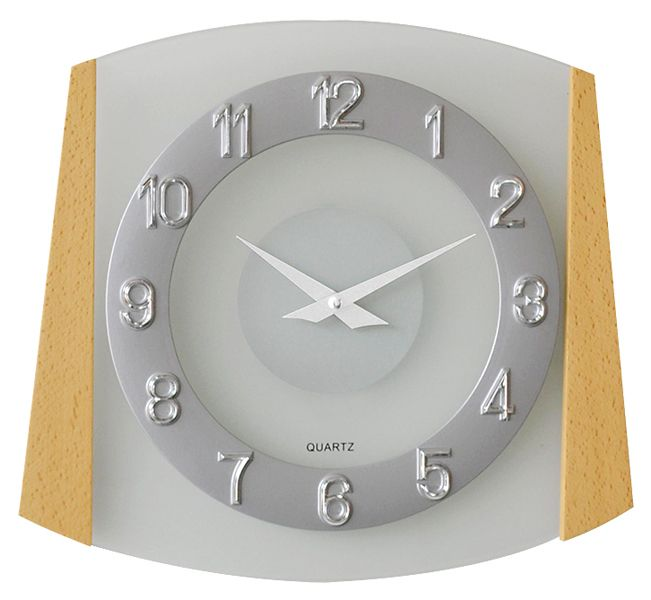 Dřevěné skleněné nástěnné hodiny JVD quartz N14029/68