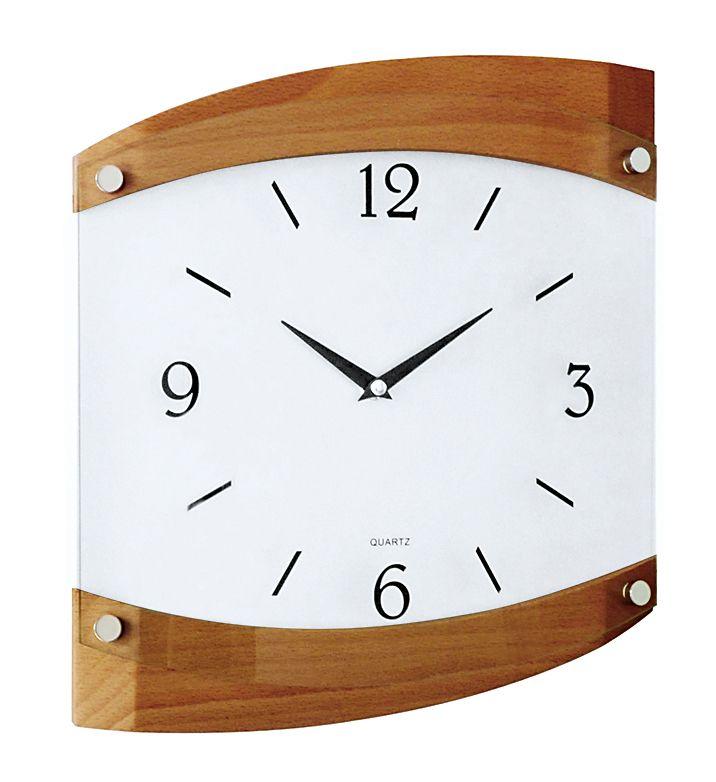 Dřevěné skleněné nástěnné hodiny JVD quartz N14019/11