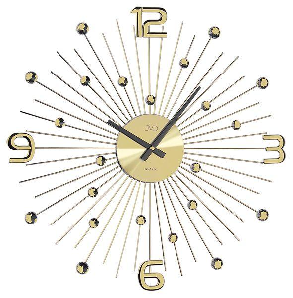 Luxusní moderní zlaté kovové nástěnné hodiny JVD HT074.1 (HT074.1)