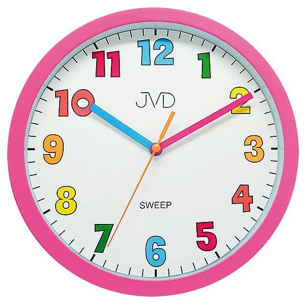 Růžové barevné tiché netikající dětské hodiny JVD sweep HA46.2 (ha46.2)