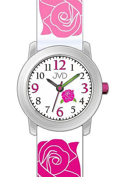 Dětské růžové hodinky JVD J7145.1 pro mladé slečny s růžičkama