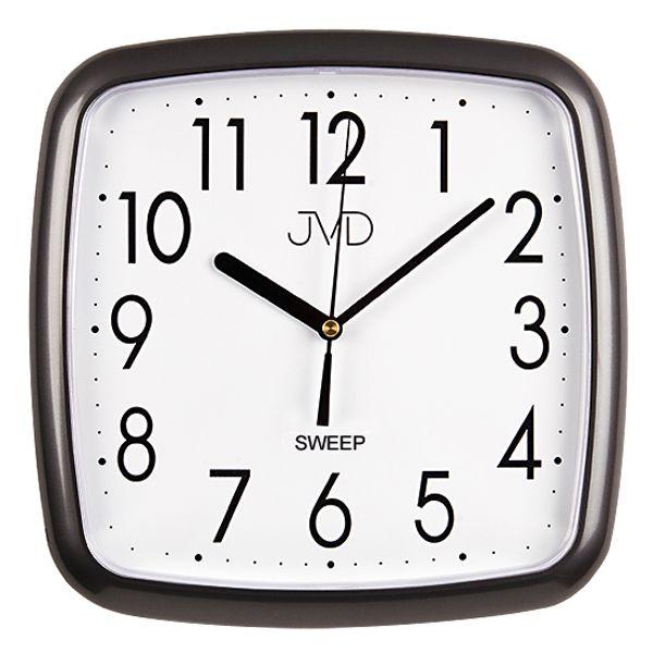 Šedo černé hranaté nástěnné hodiny JVD sweep HP615.17